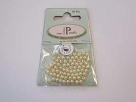 Glass Pearls, round, 4mm, Beige, 80pcs