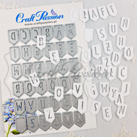 Craft passion Set of Craft Dies banners with alphabet