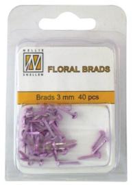 """Nellie Snellen - Floral Glitter Brads """"Pink"""" FLP-GB-003"""