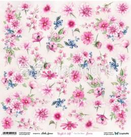 Designpapier Bright & Soft Flowers - 30.5x30.5 - per vel