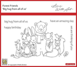 """Nellie's clear stamp forest friends """"big hug from all of us"""" FFECS002"""
