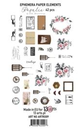 Rosalie Ephemera pack 42 elementen - 13Arts - set Rosalie