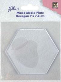 """NMMP008Mixed Media Plate """"Hexagon"""" 90x78mm"""