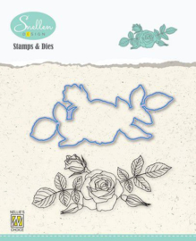 Nelie's Choice Flowers Die cut & clearstamp set Roos HDCS006 95x42mm