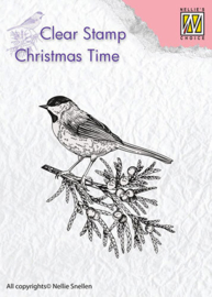 Nellie Snellen - CT023 Christmas Time Conifer branch with bird