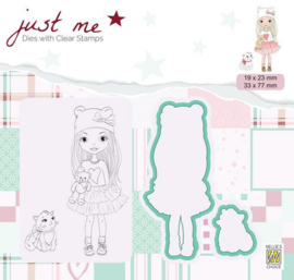Nellie's Choice Just Me Die + Clear stamp Meisje met kat JMSD001 A4