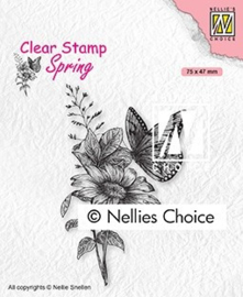 """SPCS018 Clear Stamps Spring """"butterfly"""" 75x47mm"""