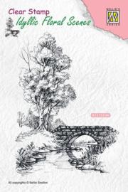 "Nellie Snellen -   IFS011 Idyllic floral ""scene-with stream and bridge"" 81x112mm"