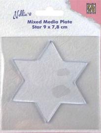 "NMMP007Mixed Media Plate ""star"" 90x78mm"