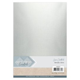 Card Deco Essentials - Metallic Linnenkarton - Metallic Silver