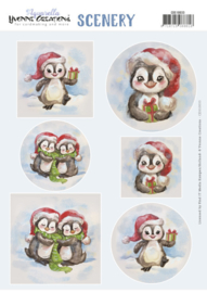 Push Out Scenery - Yvonne Creations - Aquarella - Christmas Penguin CDS10033