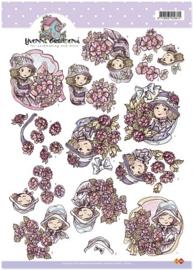 3D Knipvel - Yvonne Creations - meisje met bloemen - CD10165