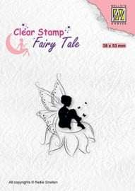 "Nellie Snellen - FTCS020 Clear stamps Fairy Tale-18 ""Elf sitting on flower"" 38x53mm"