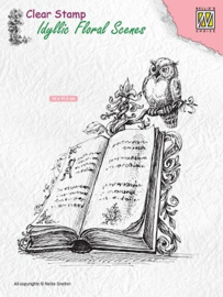 "Nellie Snellen - IFS013 Clear stamps Idyllic Floral scenes ""Book with owl"""