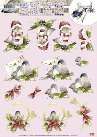 3D Knipvel - Precious Marieke - Kerst vogeltjes HJ10201