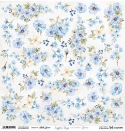 Designpapier Sapphire Days Flowers 1 - 30.5x30.5 - per vel