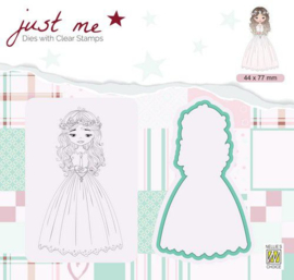 Nellie's Choice Just Me Die + Clear stamp Communie JMSD004 A4