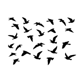Crafty Individuals CI-478 - 'A Flock of Birds' Art Rubber Stamp,