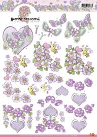 3D Knipvel - Yvonne Creations - Valentijn bloemen paars - CD10188