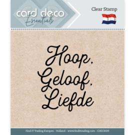 Card Deco Essentials CDECS029 - Clear Stamps - Hoop, Geloof, Liefde