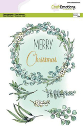 CraftEmotions clearstamps A5 - Eucalyptus krans Merry Christmas Dimensional stamp
