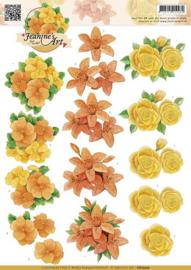 3D Knipvel - Jeanines Art - Oranje geel bloemen CD10505