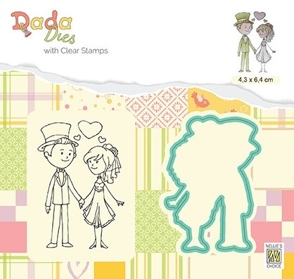 """Nellie snellen DDCS024 Die with clear stamps set: Marriage """"In Love"""" 53x65mm"""