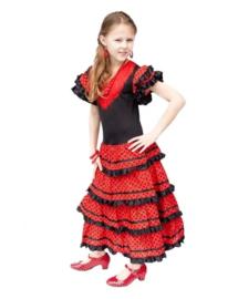 Spaanse jurk zwart rood