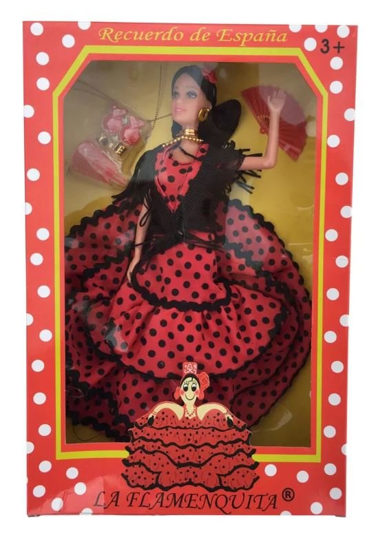 Spaanse barbie pop rood zwart