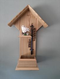Thermometerhuisje sneeuwuil met dennenappel