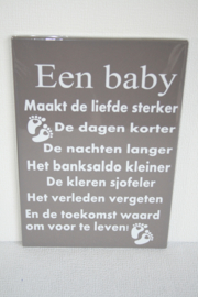 Tekstbord Een baby