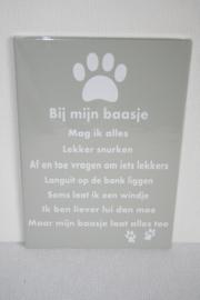Tekstbord Bij mijn baasje hond