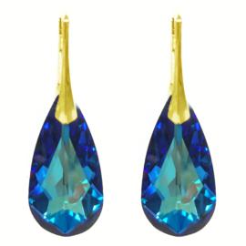 Oorbellen met Swarovski Elements Bermuda Blue - 24MM Goudkleurig