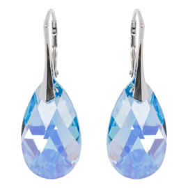 Zilveren Oorbellen met Swarovski Kristal Aquamarine AB - 22MM