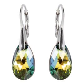 Zilveren Oorbellen met Swarovski Elements Crystal Sahara - Goudkleurig Zilver - 16MM