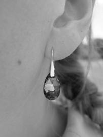 Zilveren Oorbellen met Swarovski Elements Light Rose - 16MM