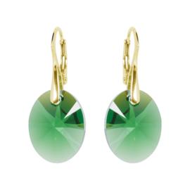 Oorbellen met Swarovski Kristallen Oval Moss Green -  Zilver Goudkleurig