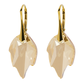 Oorbellen Swarovski Elements Leaf Golden Shadow - Goudkleurig Zilver