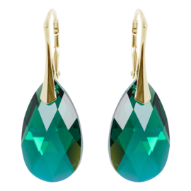 Zilveren Goudkleurige Oorbellen met Swarovski Kristal Emerald AB - 22MM