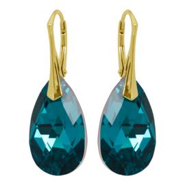 Zilveren Goudkleurige Oorbellen met Swarovski Kristal Blue Zircon - 22MM