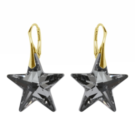 Zilveren Goudkleurige Oorbellen met Swarovski Elements Star Crystal Silver Night