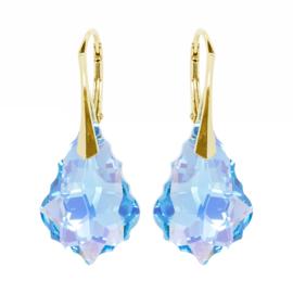 Zilveren Goudkleurige Oorbellen met Swarovski Kristal Barok - Aquamarine AB