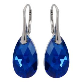 Zilveren Oorbellen met Swarovski Kristal Capri Blue - 22MM