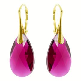 Zilveren  Goudkleurige Oorbellen met Swarovski Kristal Ruby - 22MM