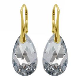 Zilveren  Goudkleurige Oorbellen met  Kristal Silver - 22MM