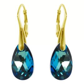 Oorbellen met Swarovski Elements Bermuda Blue - Goudkleurig Zilver - 16MM