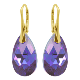 Zilveren  Goudkleurige Oorbellen met Swarovski Kristal Tanzanite Blue AB- 22MM
