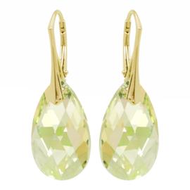 Zilveren  Goudkleurige Oorbellen met Swarovski Kristal Luminous Green- 22MM