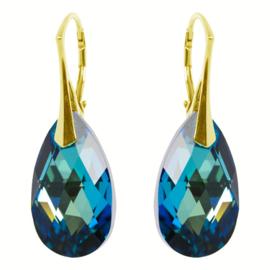 Zilveren Goudkleurige Oorbellen met Swarovski Kristal Bermuda Blauw - 22MM