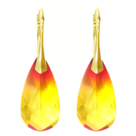 Oorbellen met Swarovski Elements Fire Opal - 24MM Goudkleurig